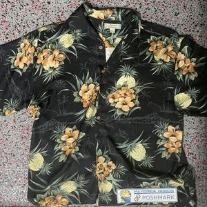 Tommy Bahama Silk Shirt Pineapple & Hibiscus